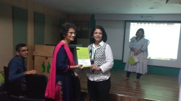 The Dean of Fortis Hiranandani Hospital, Vashi  presenting certificates to Pooja & Carol